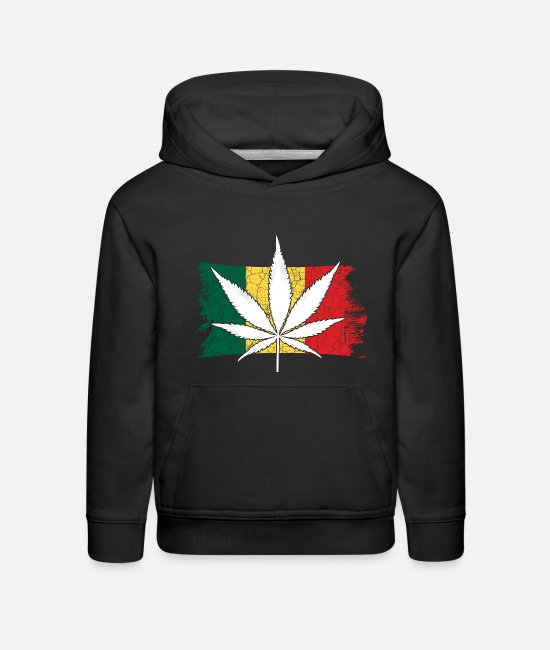 Hemp Hoodies & Sweatshirts - 420 Hemp Leaf Cannabis Lover Stoners Birthday Flag - Kids' Premium Hoodie black