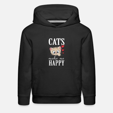 Kids Woman sweet cat shirt - Cats make me happy - Kids' Premium Hoodie