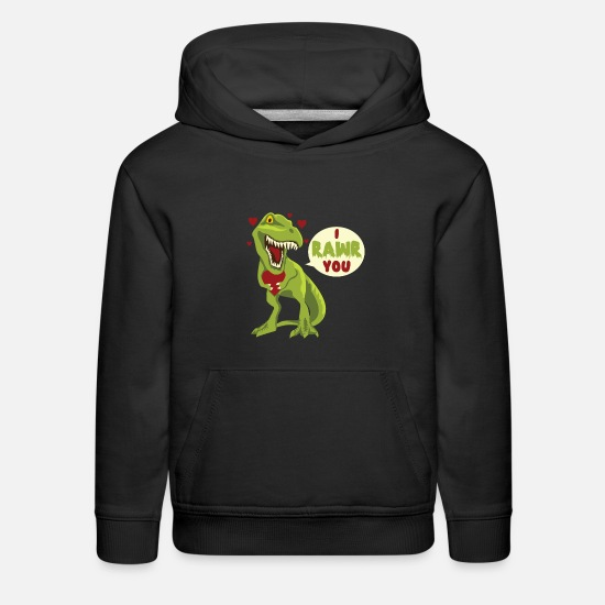 Day Hoodies & Sweatshirts - I Rawr You T-Rex Dinosaur Dino Valentines Day Gift - Kids' Premium Hoodie black