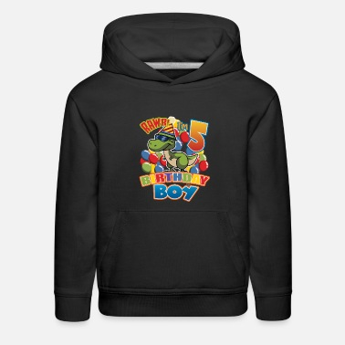 Birthday Age 5 5th Birthday Dinosaur Gift For Boys Turning Age 5 - Kids' Premium Hoodie