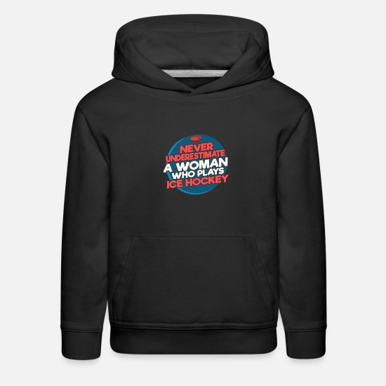 Hockey Hoodies & Sweatshirts - Woman female ice hockey player - Kids' Premium Hoodie black