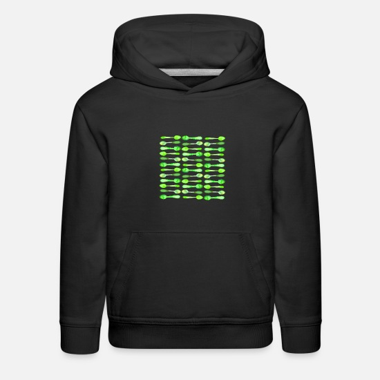 Invisible Hoodies & Sweatshirts - Green Watercolor Spoons - Kids' Premium Hoodie black