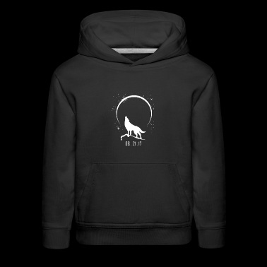 Wolf Howling At Solar Eclipse 2017 - Kids' Premium Hoodie