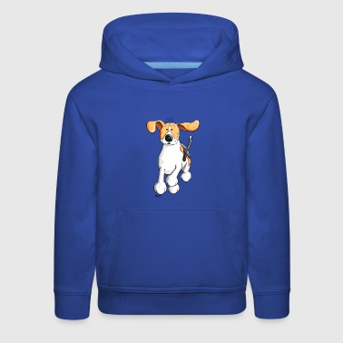 Funny Running Beagle Cartoon - Kids' Premium Hoodie