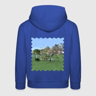 An exotic wild animal scene - Kids' Premium Hoodie
