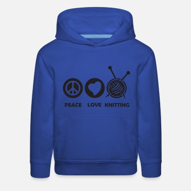Wine peace love knitting - Kids' Premium Hoodie