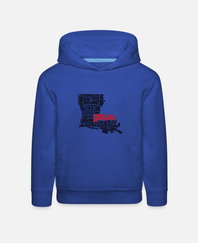 Graphic Art Hoodies & Sweatshirts - Louisiana Typography Map - Kids' Premium Hoodie royal blue