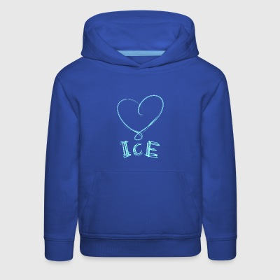 Ice skaters blue heart with scratches on ice - Kids' Premium Hoodie