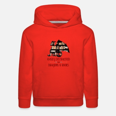 Easily Distracted by Dragon and Books Nerds Style - Kids' Premium Hoodie