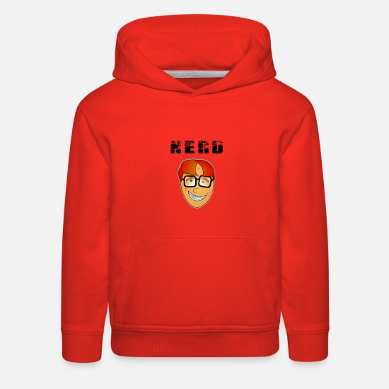 Console Hoodies & Sweatshirts - Nerdface with braces and pimples - Kids' Premium Hoodie red