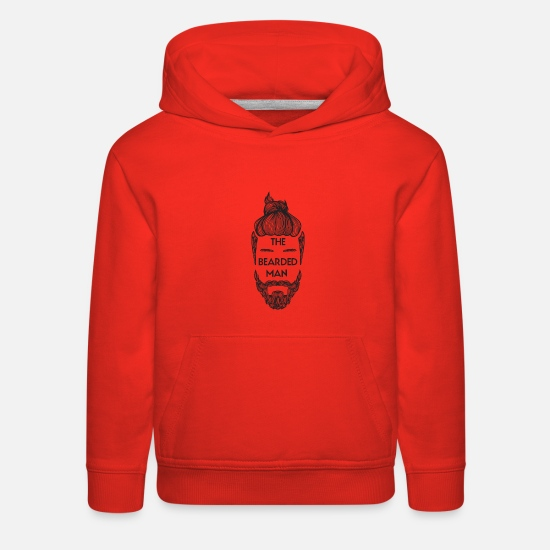 Beard Hoodies & Sweatshirts - Bearded Man with Man Bun Beard Lover - Kids' Premium Hoodie red