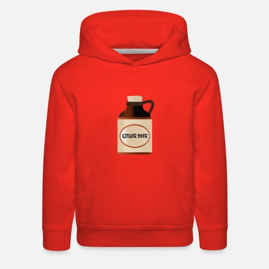 Ginger Hoodies & Sweatshirts - Ginger Beer Stone Bottle With Cork And Logo - Kids' Premium Hoodie red