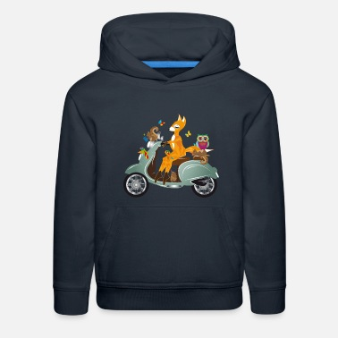 Cult Forest animals on a jaunt with a scooter - Kids' Premium Hoodie