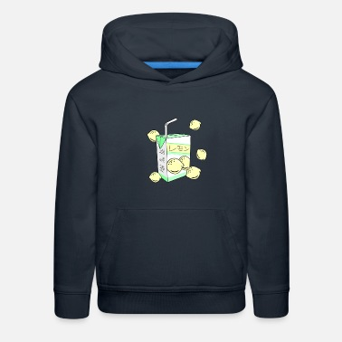 Japanese Lemon Juice Box 90s Aesthetic Pastel - Kids' Premium Hoodie