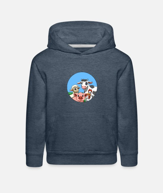 Eco Hoodies & Sweatshirts - Animals Are Friends - Vegan And Veggie - Kids' Premium Hoodie heather denim