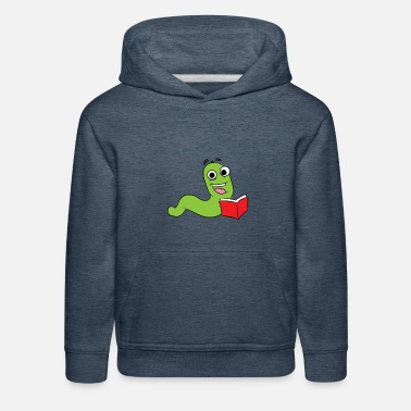 Bookworm Bookworm is reading a red book - Kids' Premium Hoodie