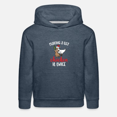 Chicken It Twice Funny Chicken Christmas Design - Kids' Premium Hoodie