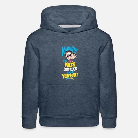 Vision Hoodies & Sweatshirts - AHH! Not Dressed For Youtube Kids - Kids' Premium Hoodie heather denim