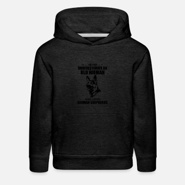 German Shepherd Old Woman Who Loves German Shepherds Shirt - Kids' Premium Hoodie