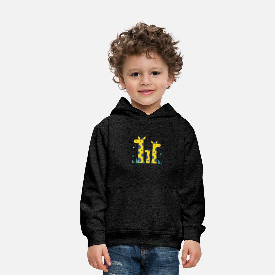 Cool Hoodies & Sweatshirts - Three Giraffe Cute Shirt - Kids' Premium Hoodie charcoal gray