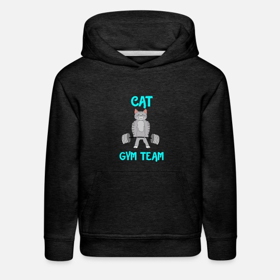 Guy Hoodies & Sweatshirts - cat gym team gift shirt - Kids' Premium Hoodie charcoal gray