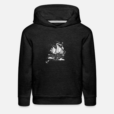Above The Clouds A sailing ship above the clouds - Kids' Premium Hoodie