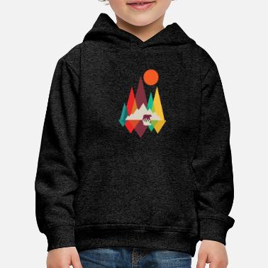 Geometric Geometric, California, Bear, Mountain - Kids' Premium Hoodie