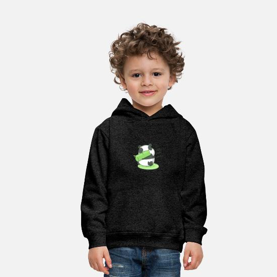 Animal Hoodies & Sweatshirts - Panda Cute Munching Munch Om Nom Nom - Kids' Premium Hoodie charcoal gray