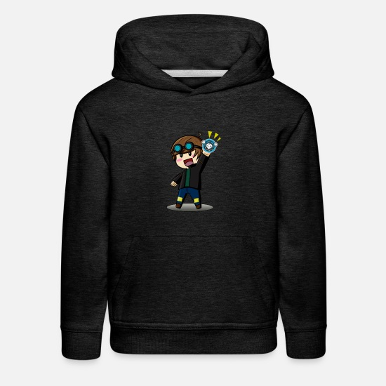Cartoon Hoodies & Sweatshirts - DAN TDM Cartoon Diamond Minecart - Kids' Premium Hoodie charcoal gray