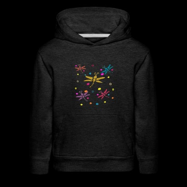 colorful dragonflies and flowers - Kids' Premium Hoodie