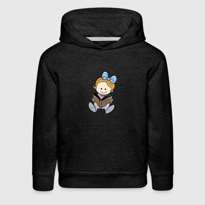 cute little girl reading - Kids' Premium Hoodie