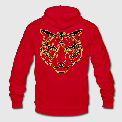 Tiger head - Unisex Fleece Zip Hoodie by American Apparel