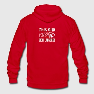 This Girl Loves Sign Language Shirt - Unisex Fleece Zip Hoodie by American Apparel