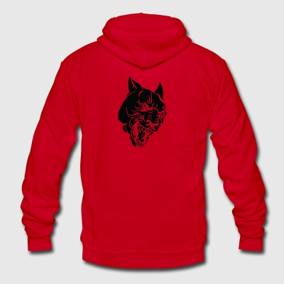 scary_wild_cat_head_black - Unisex Fleece Zip Hoodie by American Apparel