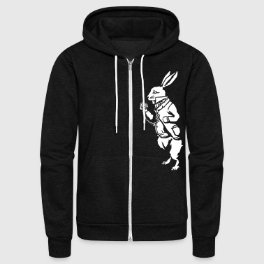 White rabbit wonderland (negative) - Unisex Fleece Zip Hoodie