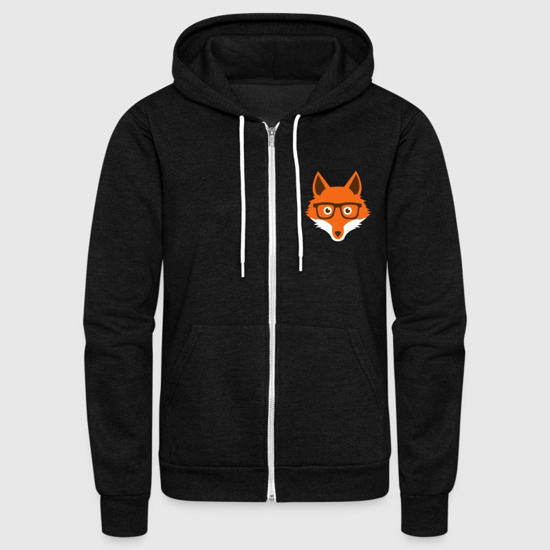 Sweet Funny hipster fox with nerd glasses - Unisex Fleece Zip Hoodie