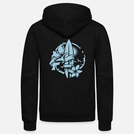 Surfboard Hoodies & Sweatshirts - Surfboard with blossoms - Unisex Fleece Zip Hoodie black