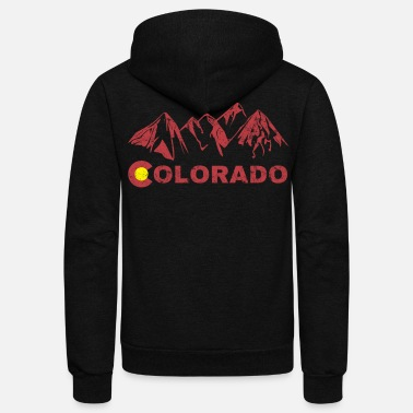 Mountains State of Colorado Rocky Mountain State Flag - Unisex Fleece Zip Hoodie