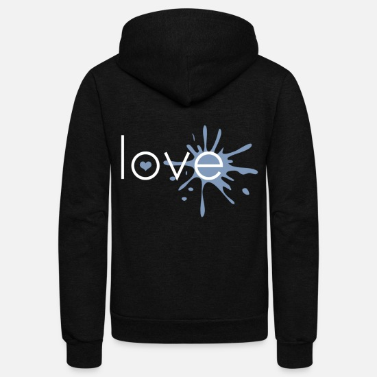 Love Hoodies & Sweatshirts - Love with heart color blob - Unisex Fleece Zip Hoodie black