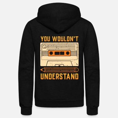 Tape 80s 90s MUSIC Cassette Tape Retro Gift Idea - Unisex Fleece Zip Hoodie