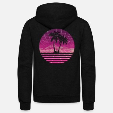 Palm Trees 80s Outrun Sunset Palm Tree Silhouette - Magenta - Unisex Fleece Zip Hoodie