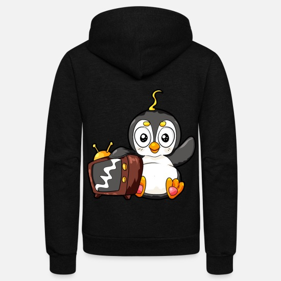 Penguin Hoodies & Sweatshirts - Cute Penguine Watching TV Cartoon Monitor Viewing - Unisex Fleece Zip Hoodie black