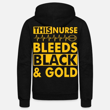 Black Cat &amp THIS NURSE BLEEDS BLACK amp GOLD - Unisex Fleece Zip Hoodie