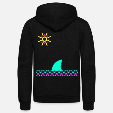 Neon Neon Sun, Waves and Shark Fin - Unisex Fleece Zip Hoodie