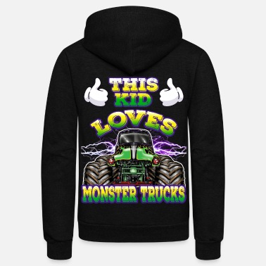 Toddlers This Kid Loves Monster Trucks - Unisex Fleece Zip Hoodie
