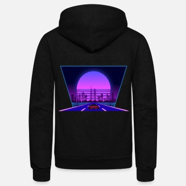 Aesthetic Aesthetic vaporwave retro city car - Unisex Fleece Zip Hoodie