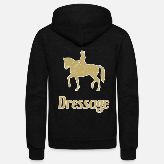 Horse Hoodies & Sweatshirts - Dressage ride horses breed horse - Unisex Fleece Zip Hoodie black