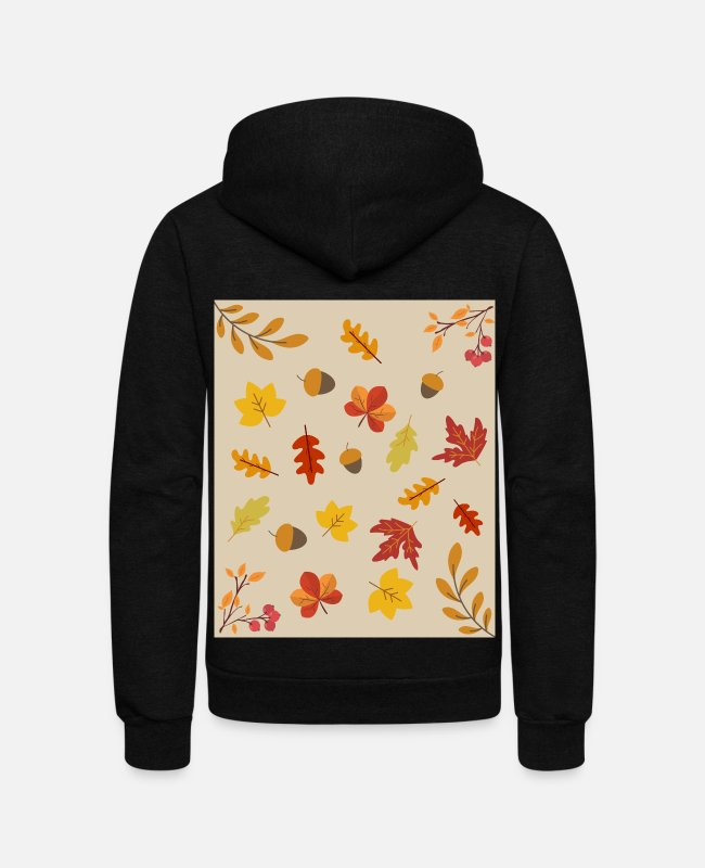 Leaves Hoodies & Sweatshirts - Autumn Leaf Pattern Colorful Colors Autumn - Unisex Fleece Zip Hoodie black