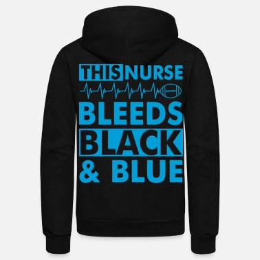 Black Cat &amp THIS NURSE BLEEDS BLACK amp BLUE - Unisex Fleece Zip Hoodie