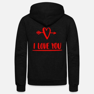 I Heart I love you Heart Hearts Valentine girlfriend - Unisex Fleece Zip Hoodie